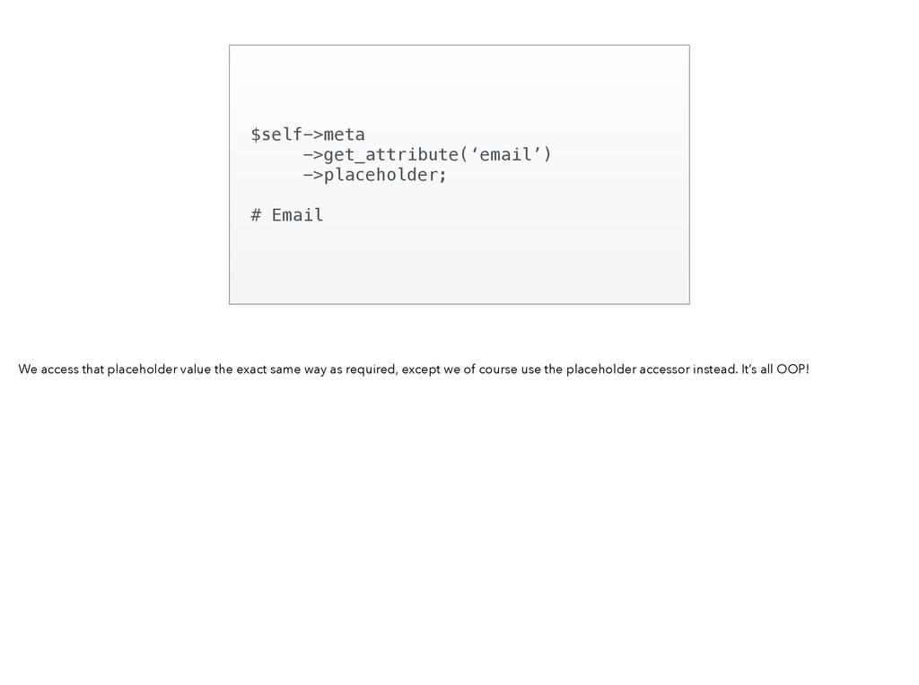 $self->meta ->get_attribute('email') ->placehol...