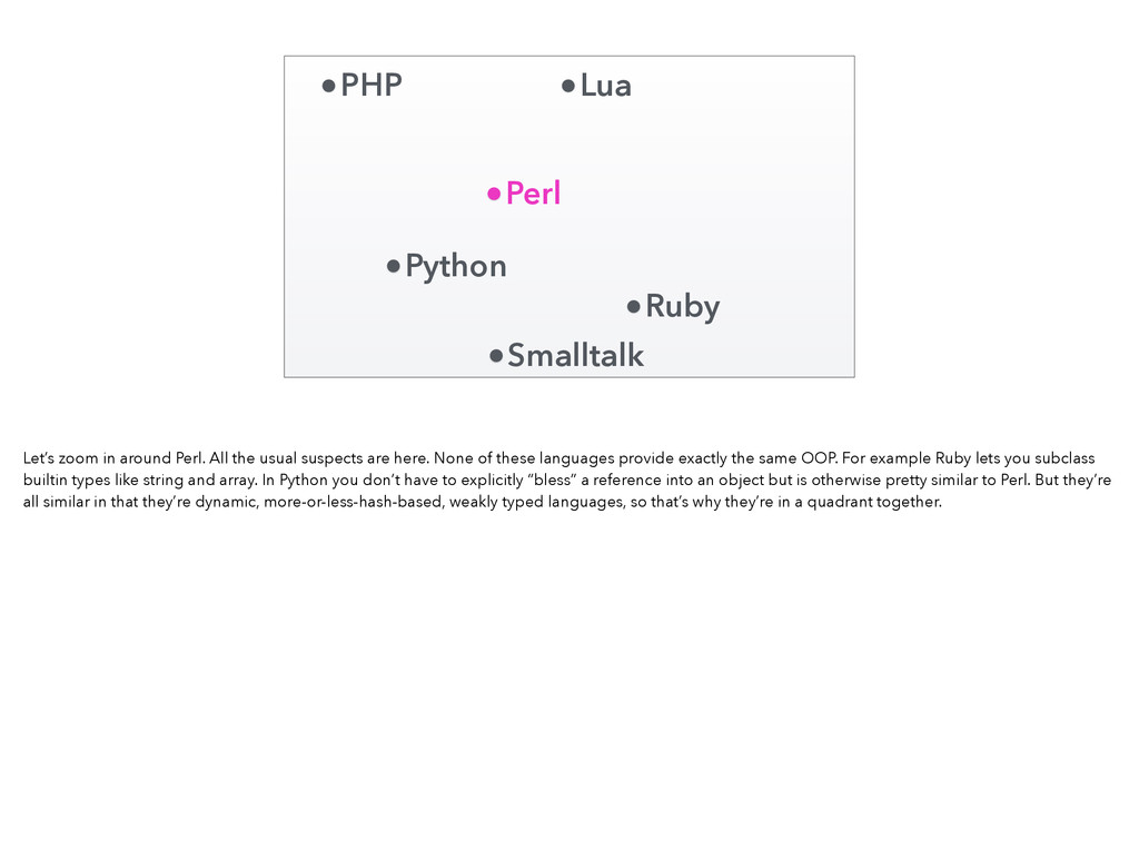 Perl Ruby Python PHP Lua Smalltalk Let's zoom i...