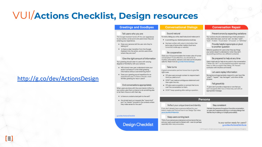 VUI/Actions Checklist, Design resources