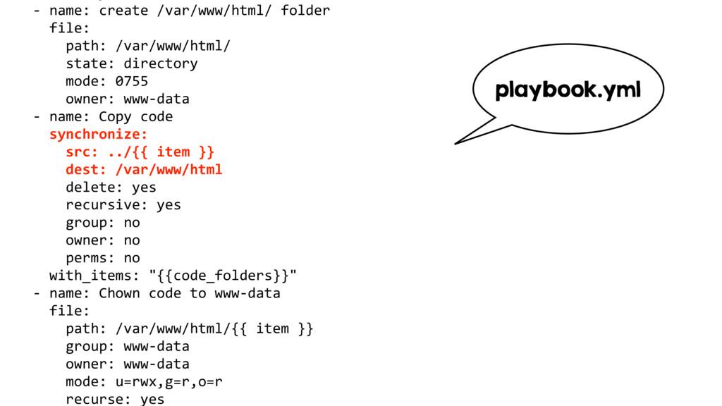 - name: create /var/www/html/ folder file: path...