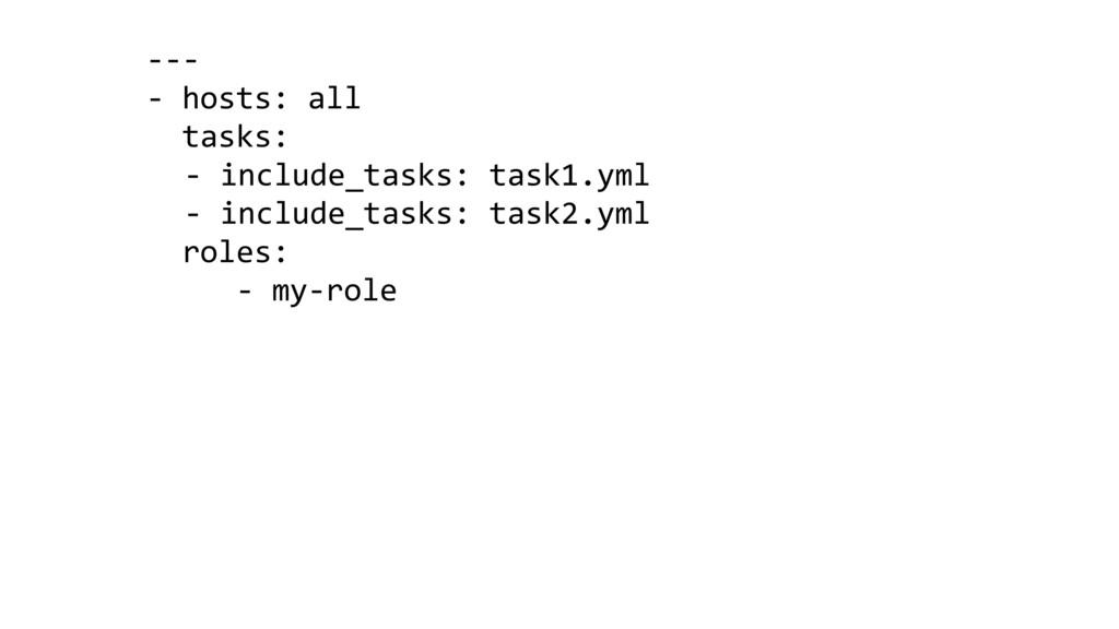 --- - hosts: all tasks: - include_tasks: task1....