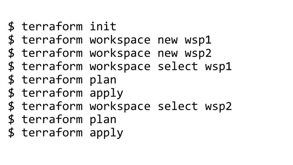 $ terraform init $ terraform workspace new wsp1...