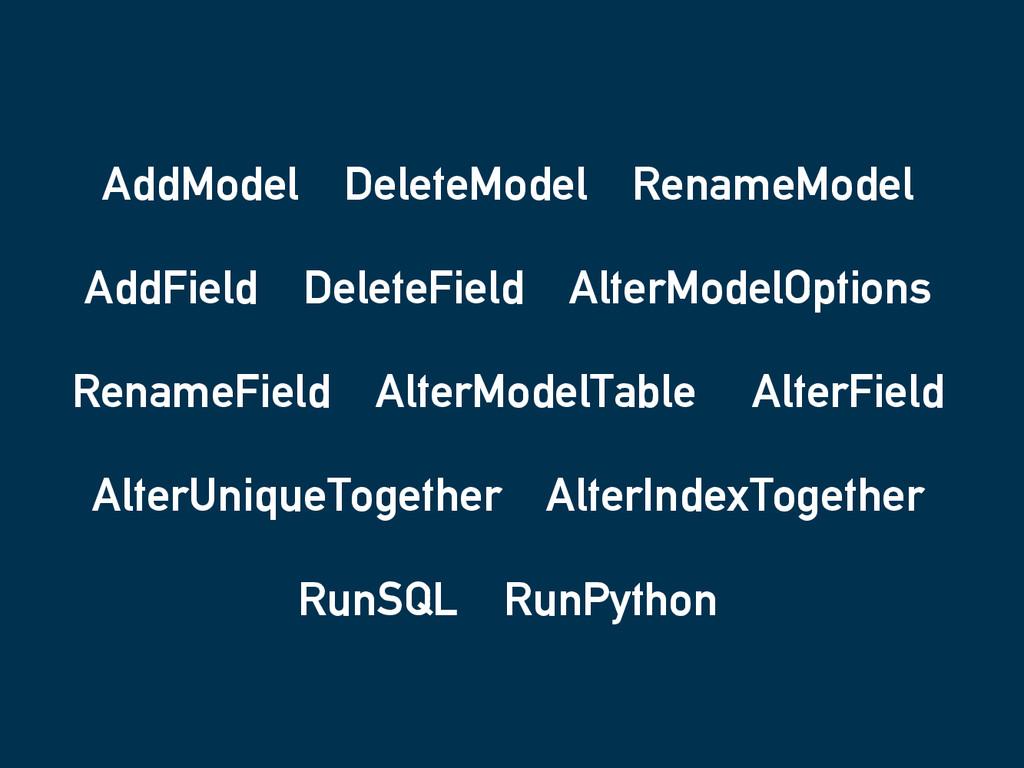 AddModel DeleteModel RenameModel AddField Delet...