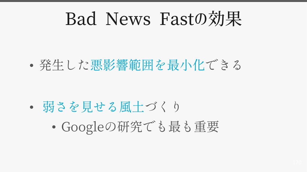 170 Bad News Fastの効果 • • • Google