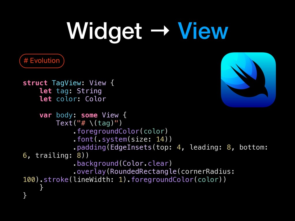 Widget → View struct TagView: View { let tag: S...