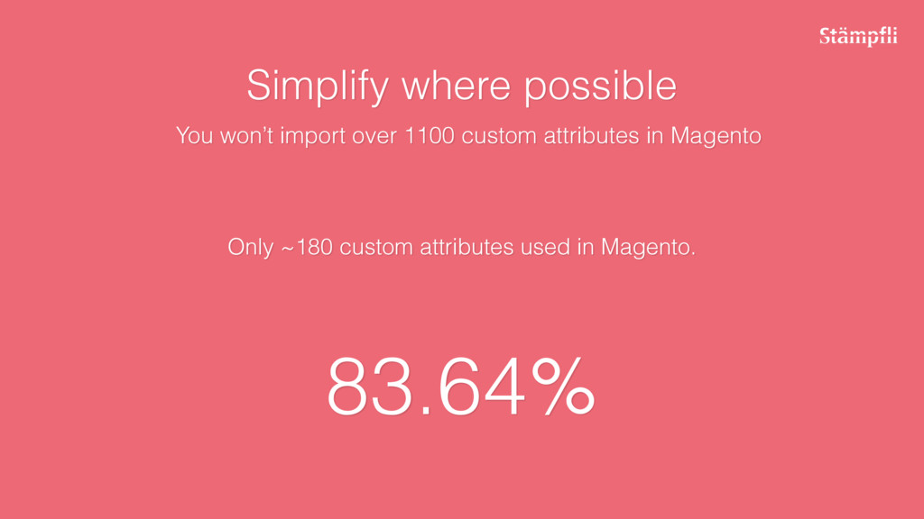 Only ~180 custom attributes used in Magento. 83...