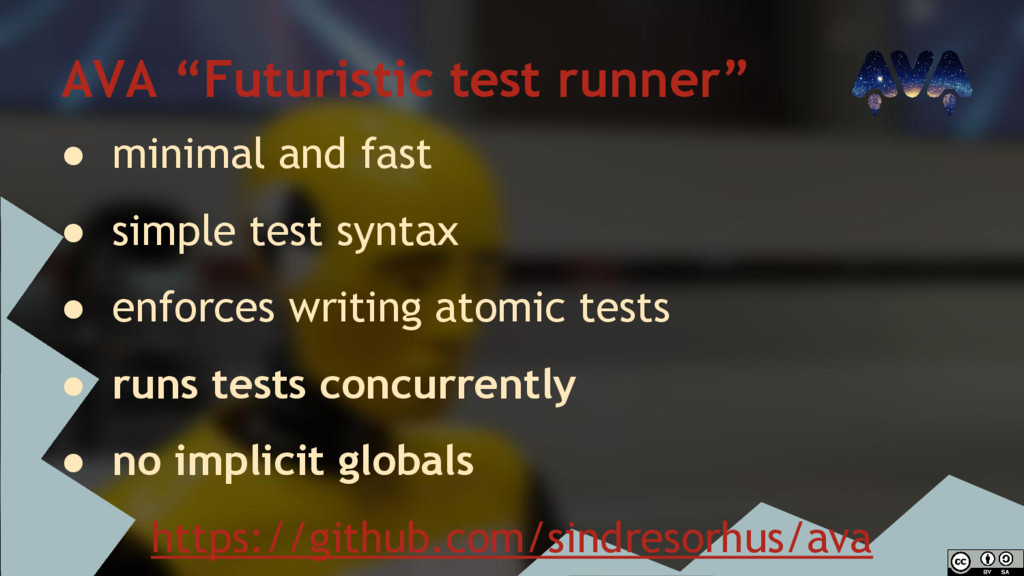 "AVA ""Futuristic test runner"" ● minimal and fast..."