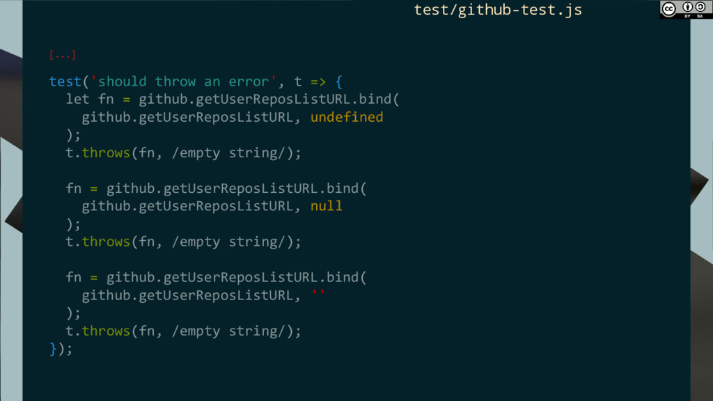 [...] test('should throw an error', t => { let ...