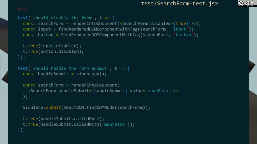 [...] test('should disable the form', t => { co...