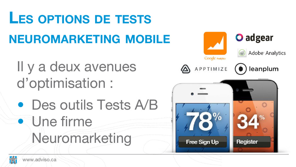 www.adviso.ca LES OPTIONS DE TESTS NEUROMARKETI...