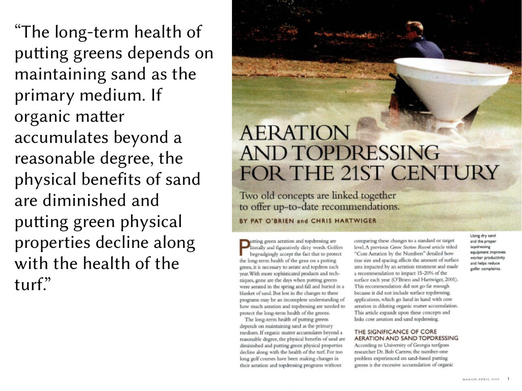 """""""The long-term health of putting greens depends..."""