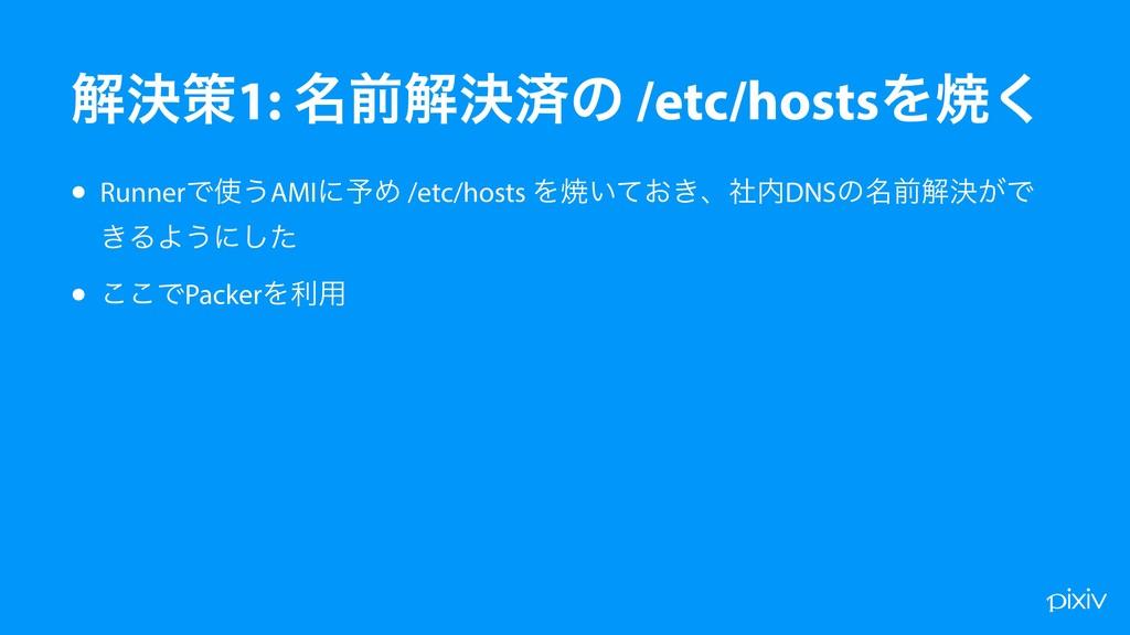 • RunnerͰ͏AMIʹ༧Ί /etc/hosts Λম͍͓͖ͯɺࣾDNSͷ໊લղܾ͕...
