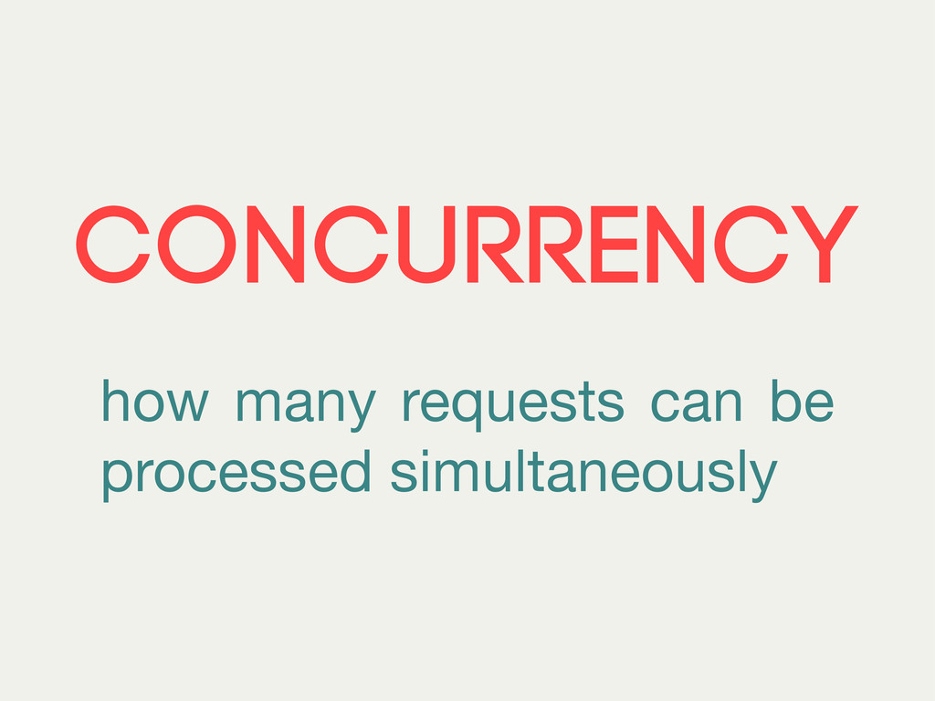 CONCURRENCY how many requests can be processed ...