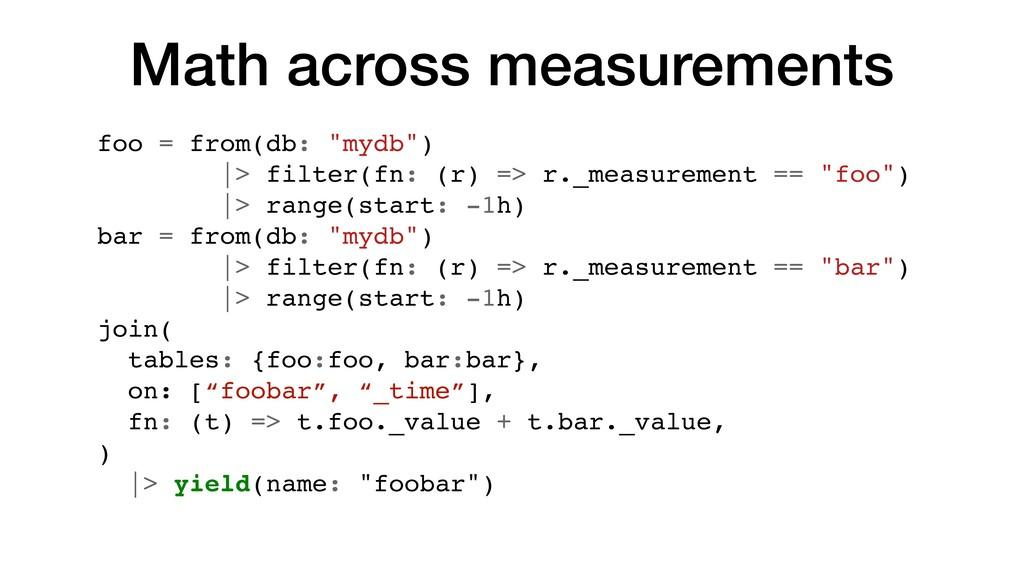 "Math across measurements foo = from(db: ""mydb"")..."