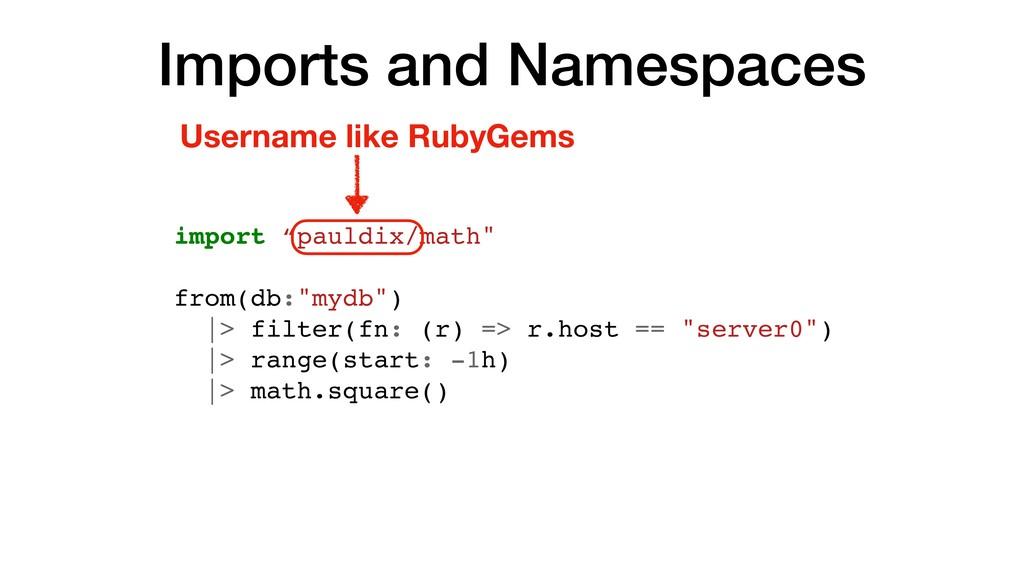 "Imports and Namespaces import ""pauldix/math"" fr..."