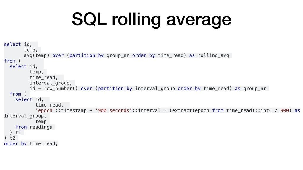 SQL rolling average select id, temp, avg(temp) ...