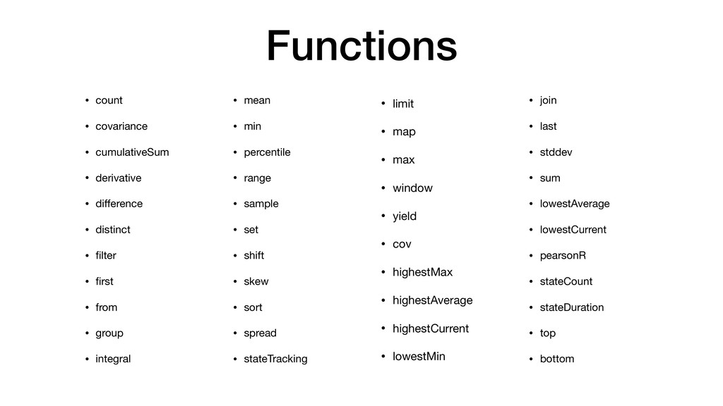 Functions • count  • covariance  • cumulativeSu...
