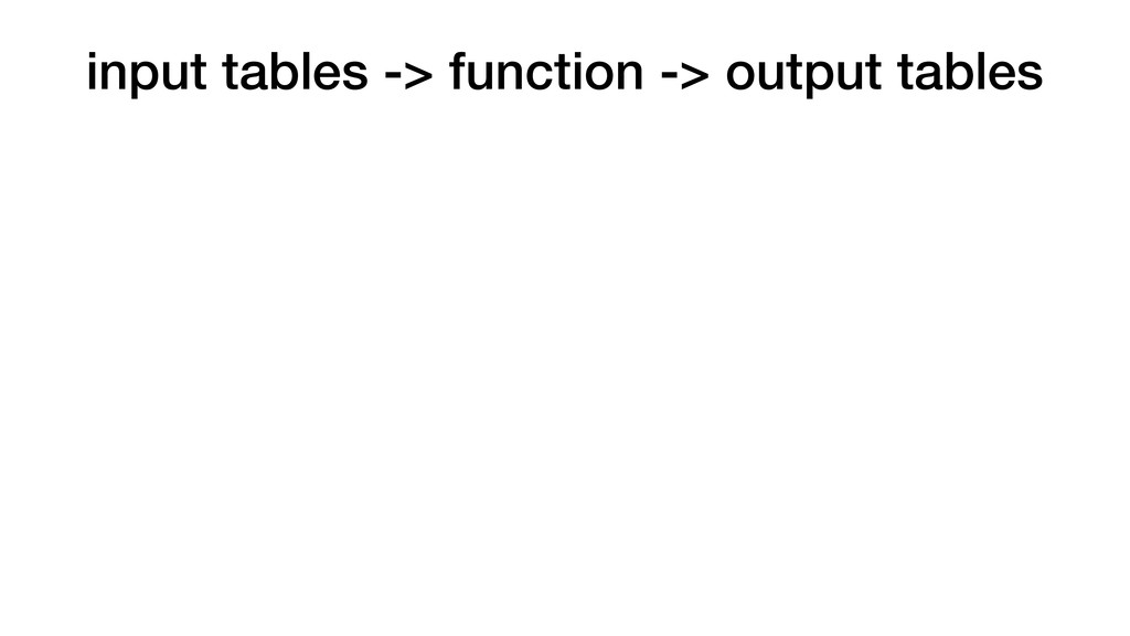 input tables -> function -> output tables