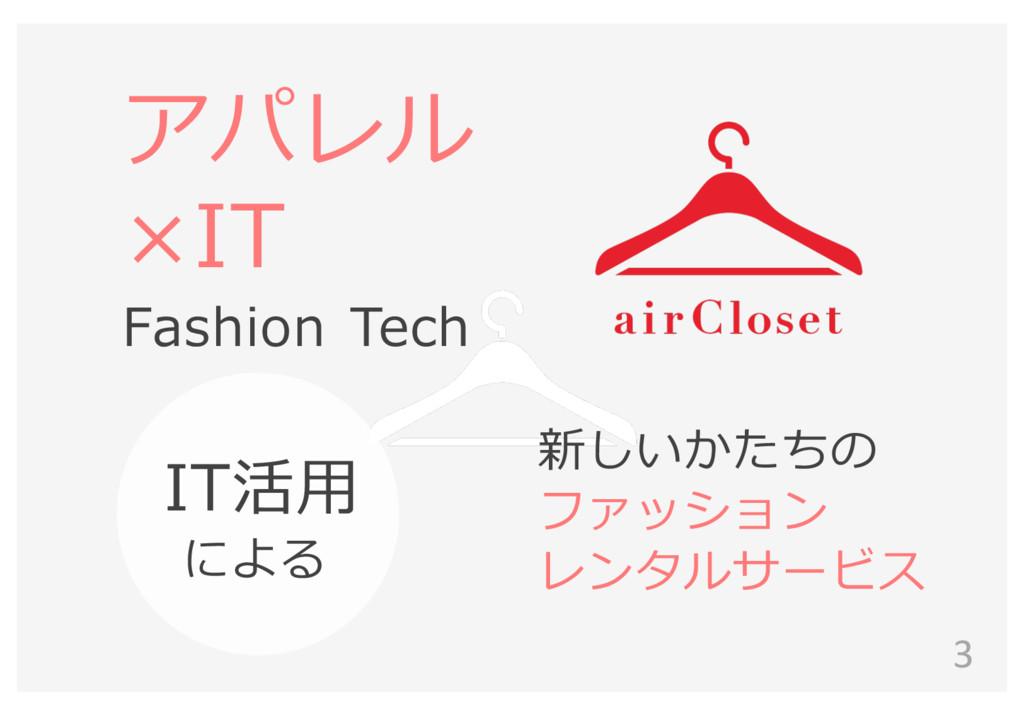 3 アパレル ×IT Fashion Tech IT活⽤用 による 新しいかたちの ファッシ...