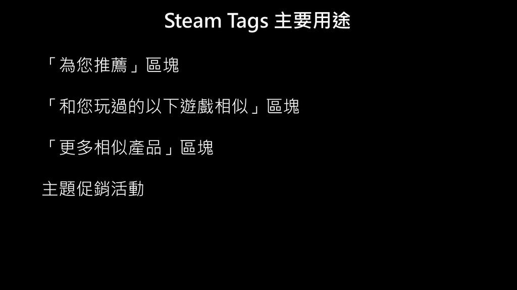 Steam Tags 主要用途 「為您推薦」區塊 「和您玩過的以下遊戲相似」區塊 「更多相似產...