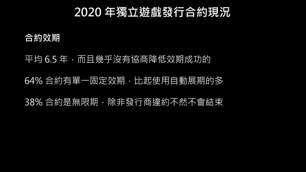2020 年獨立遊戲發行合約現況 合約效期 平均 6.5 年,而且幾乎沒有協商降低效期成功的 ...