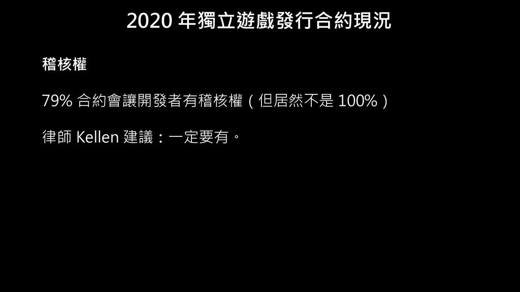 2020 年獨立遊戲發行合約現況 稽核權 79% 合約會讓開發者有稽核權(但居然不是 100%...