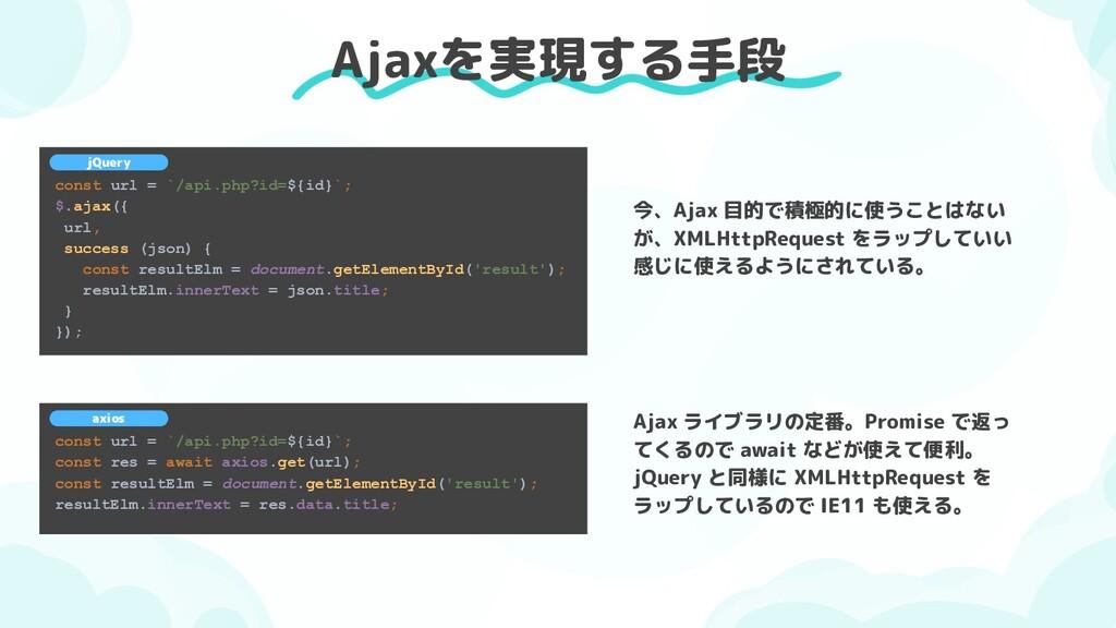 Ajaxを実現する手段 const url = `/api.php?id=${id}`; $....