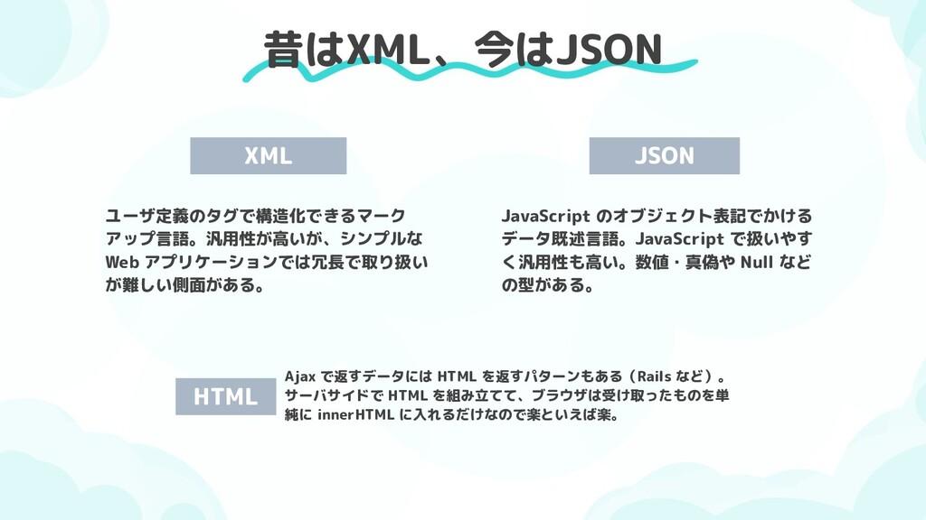昔はXML、今はJSON XML ユーザ定義のタグで構造化できるマーク アップ言語。汎用性が高...