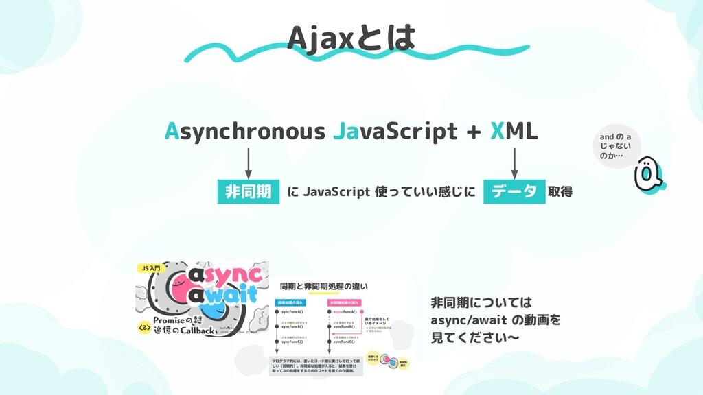Ajaxとは Asynchronous JavaScript + XML 非同期 に Java...