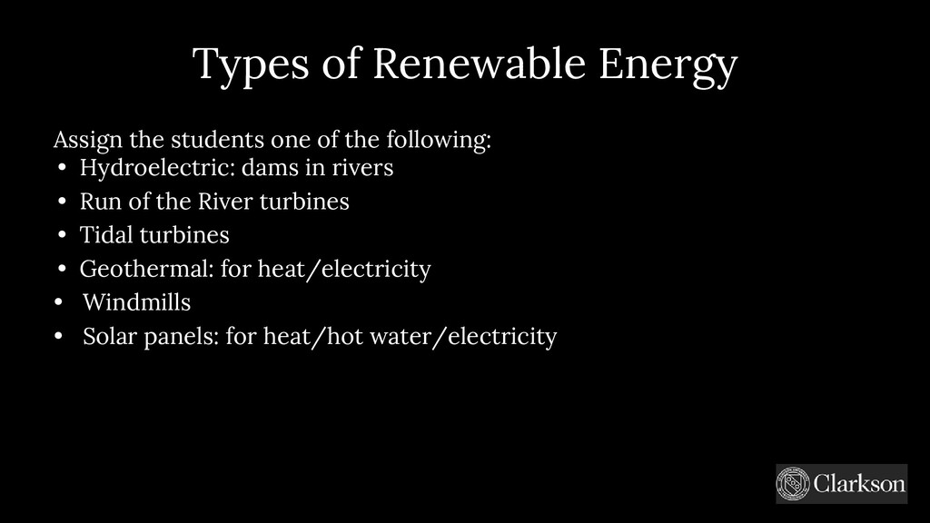 Types of Renewable Energy Assign the students o...