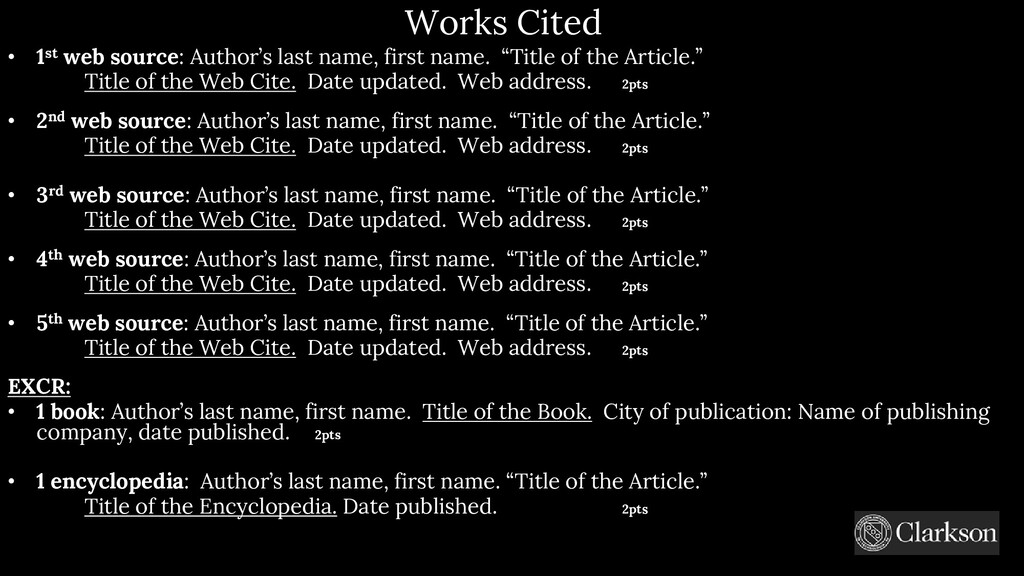 Works Cited • 1st web source: Author's last nam...