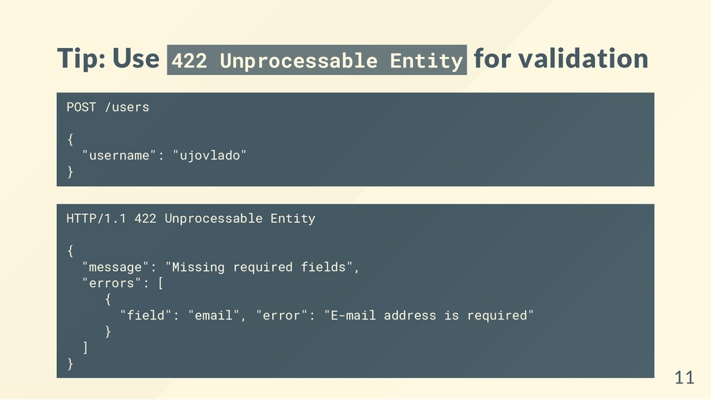 Tip: Use 422 Unprocessable Entity for validatio...