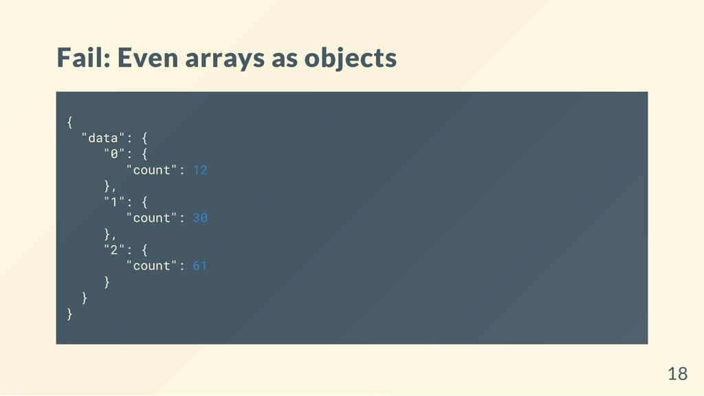"Fail: Even arrays as objects { ""data"": { ""0"": {..."