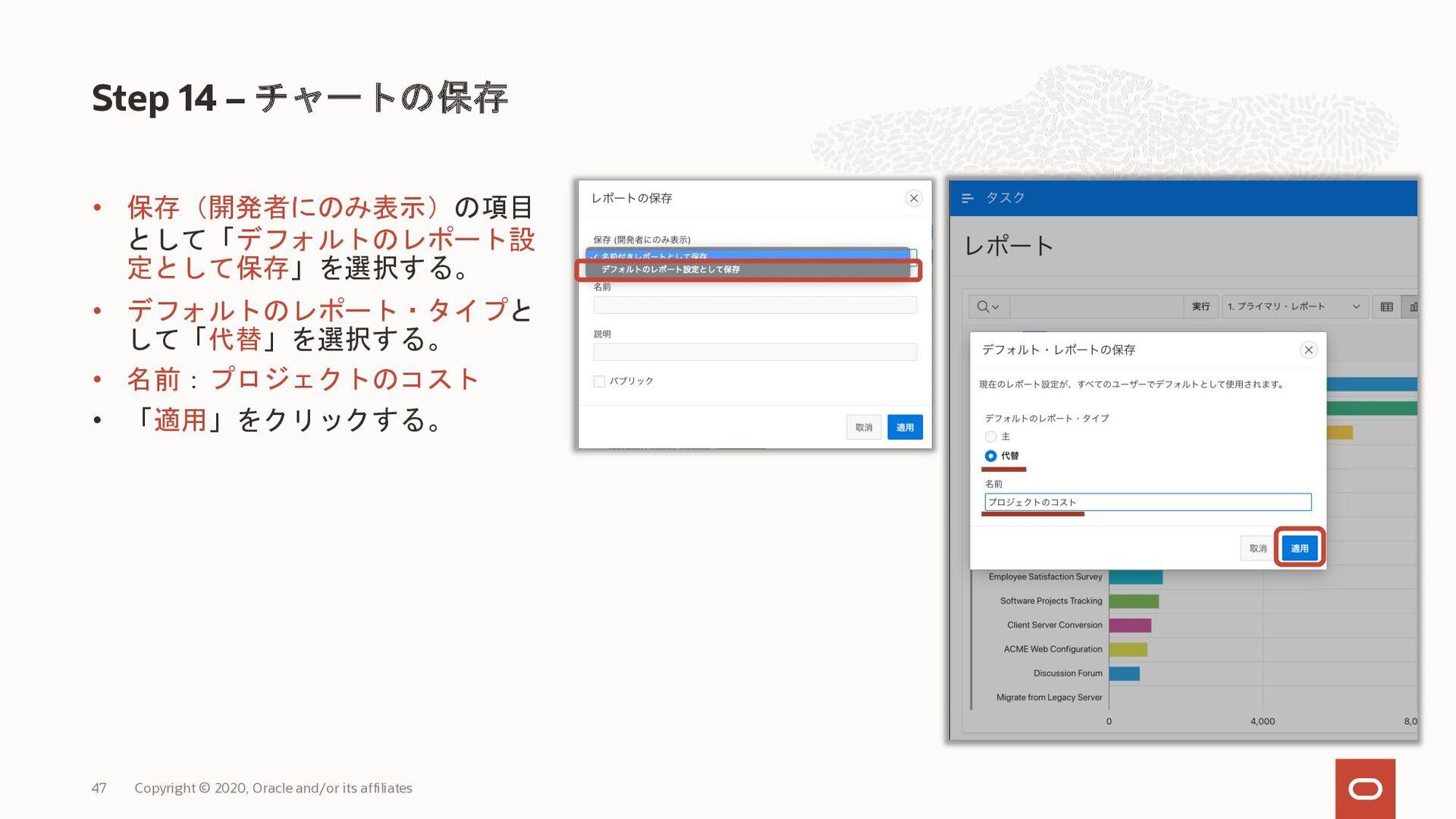 • 保存(開発者にのみ表示)の項目 として「デフォルトのレポート設 定として保存」を選択する。...