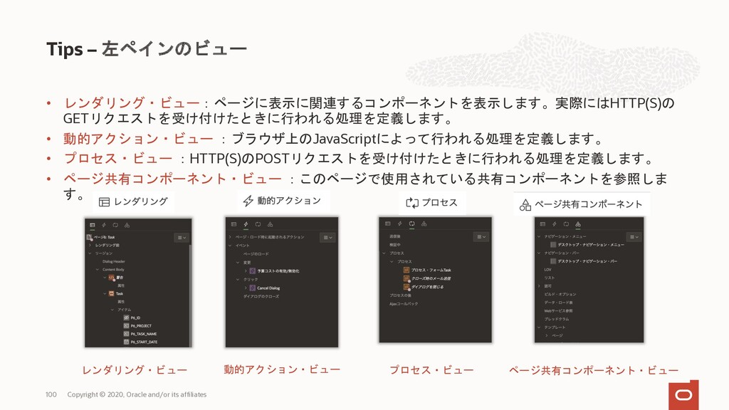 Tips – 左ペイン Copyright © 2020, Oracle and/or its...