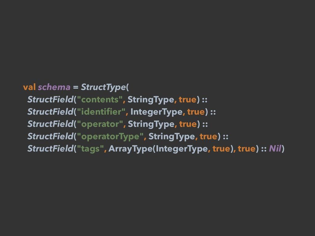 "val schema = StructType( StructField(""contents""..."