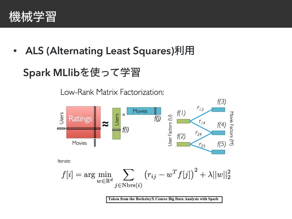 ػցֶश • ALS (Alternating Least Squares)ར༻ Spark...
