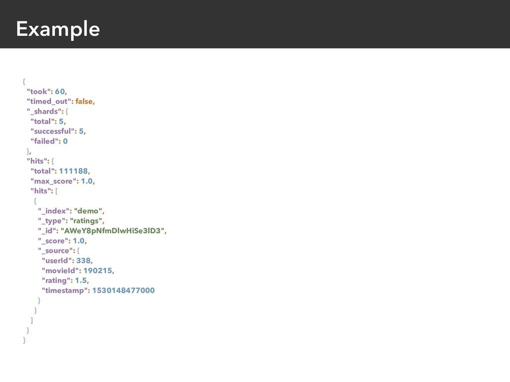 "Example { ""took"": 60, ""timed_out"": false, ""_sha..."