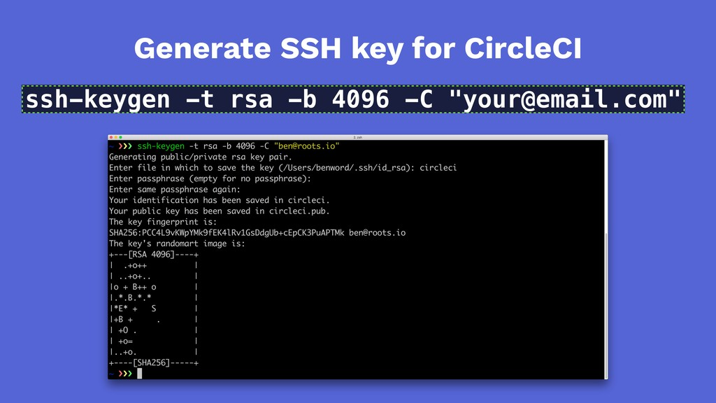 Generate SSH key for CircleCI ssh-keygen -t rsa...