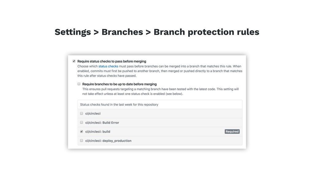 Settings > Branches > Branch protection rules