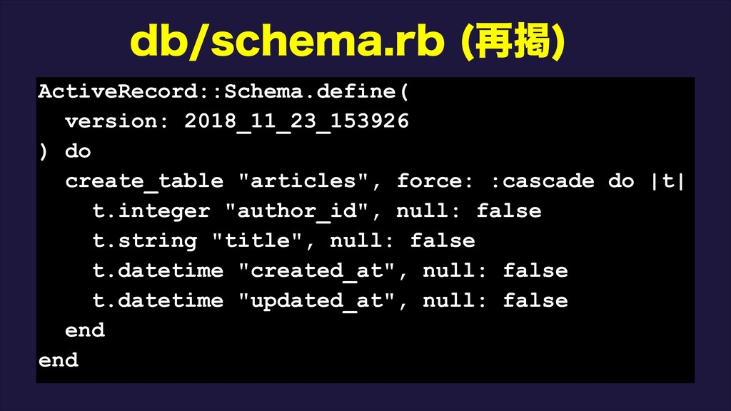 ECTDIFNBSC ࠶ܝ  ActiveRecord::Schema.define( ...