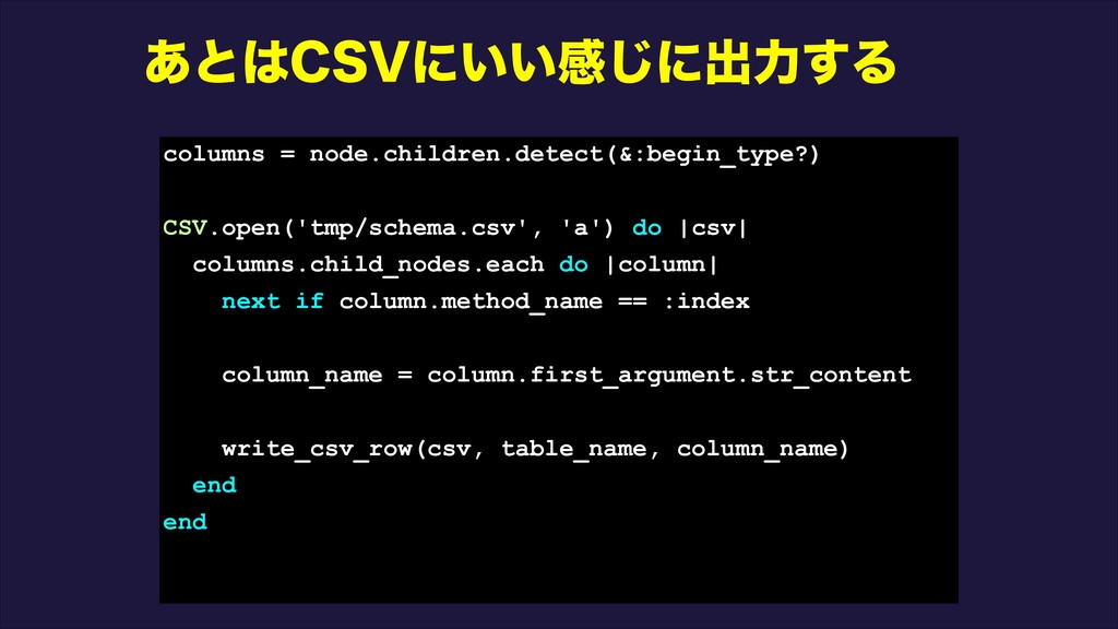 ͋ͱ$47ʹ͍͍ײ͡ʹग़ྗ͢Δ columns = node.children.detect...
