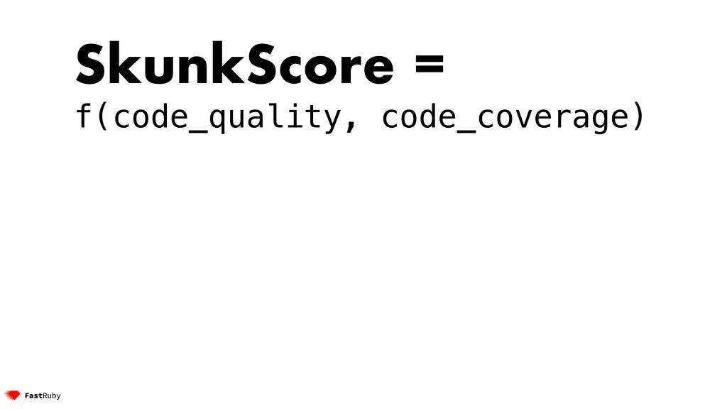 SkunkScore = f(code_quality, code_coverage)