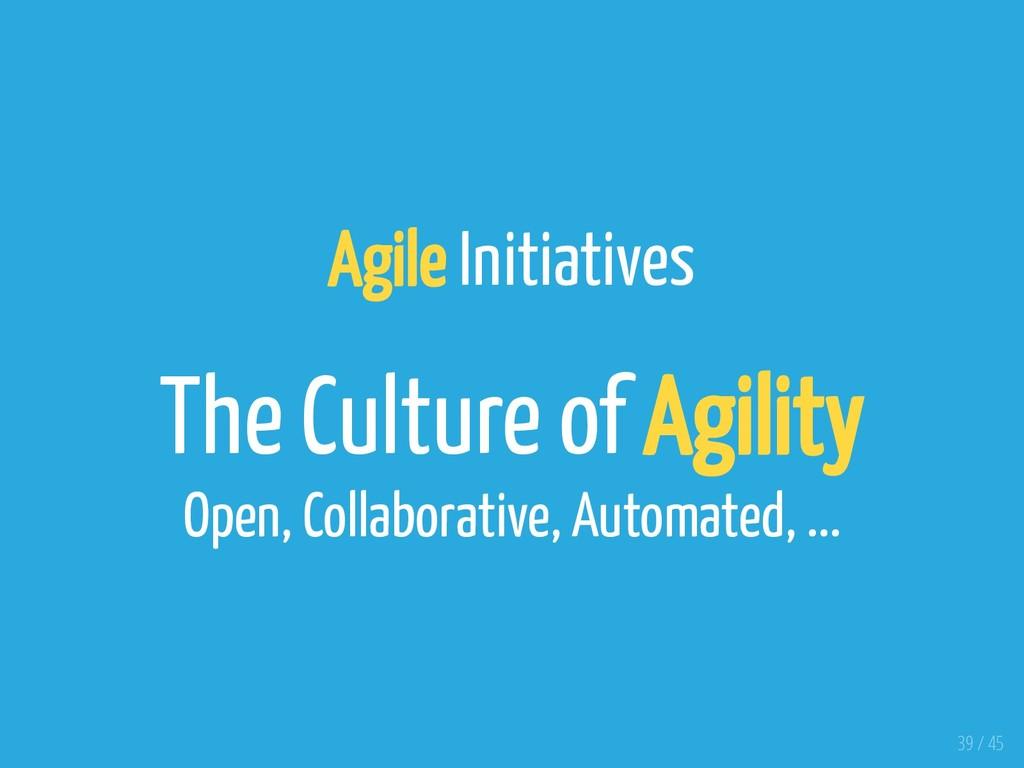 Agile Initiatives The Culture of Agility Open, ...
