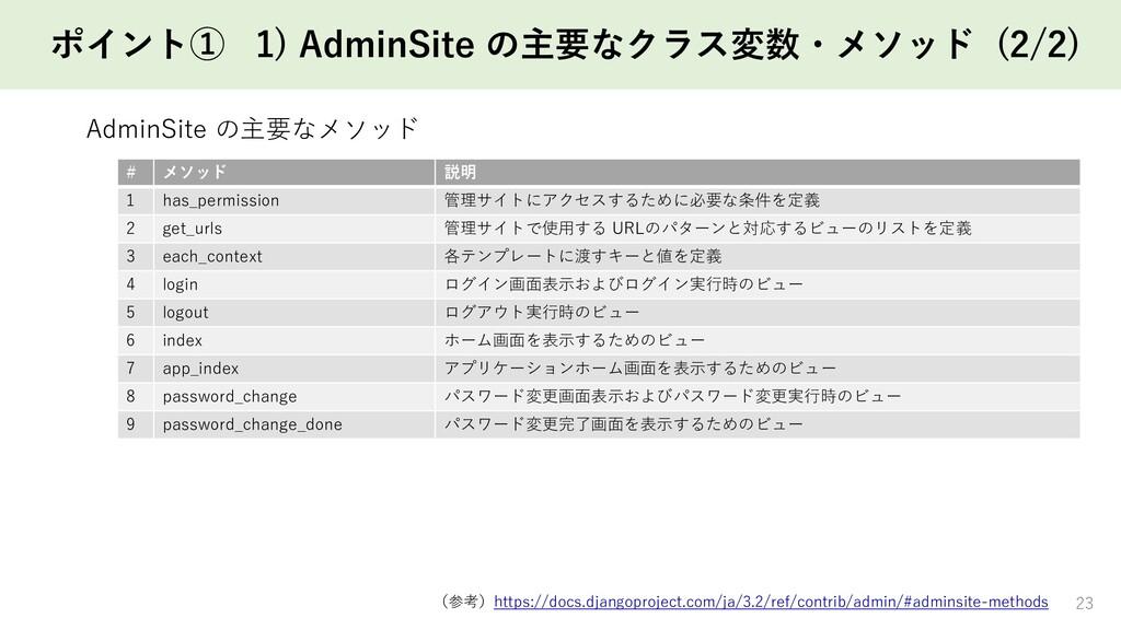 ポイント① 1) AdminSite の主要なクラス変数・メソッド (2/2) 23 # メソ...
