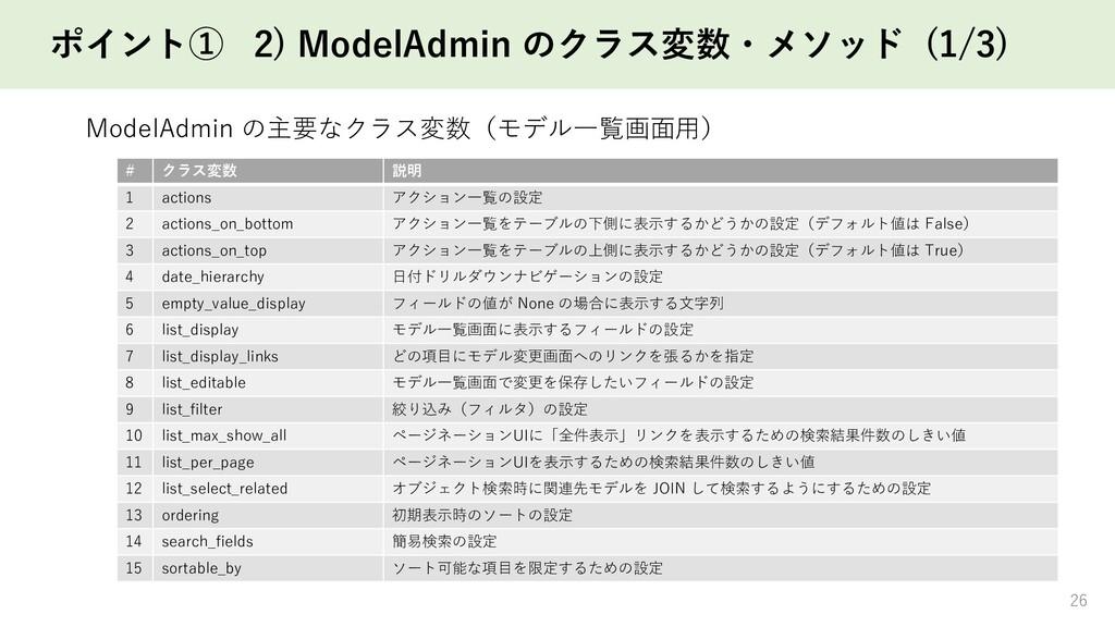 ポイント① 2) ModelAdmin のクラス変数・メソッド (1/3) 26 # クラス変...