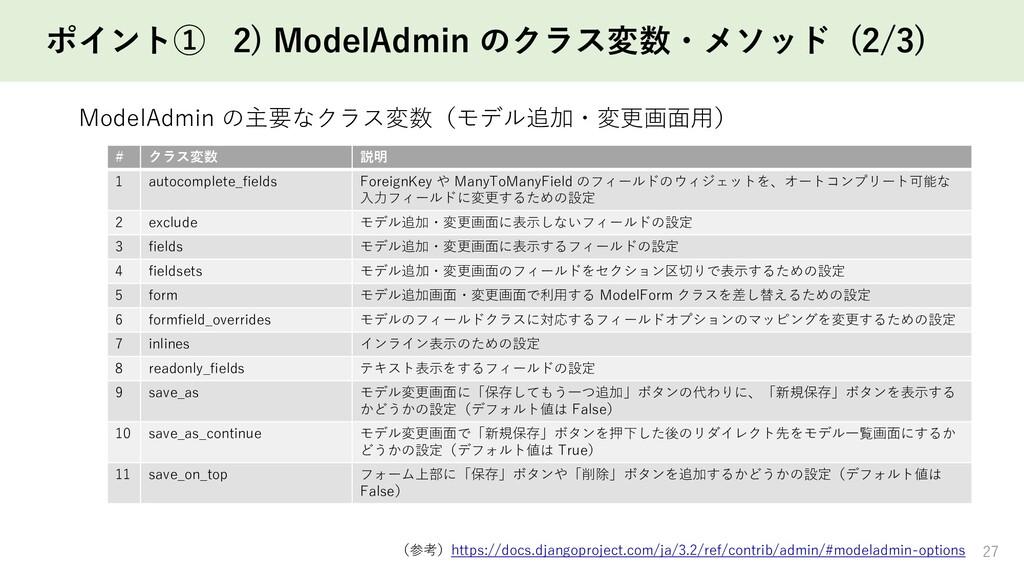 ポイント① 2) ModelAdmin のクラス変数・メソッド (2/3) 27 # クラス変...