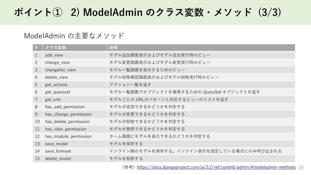 ポイント① 2) ModelAdmin のクラス変数・メソッド (3/3) 28 # クラス変...