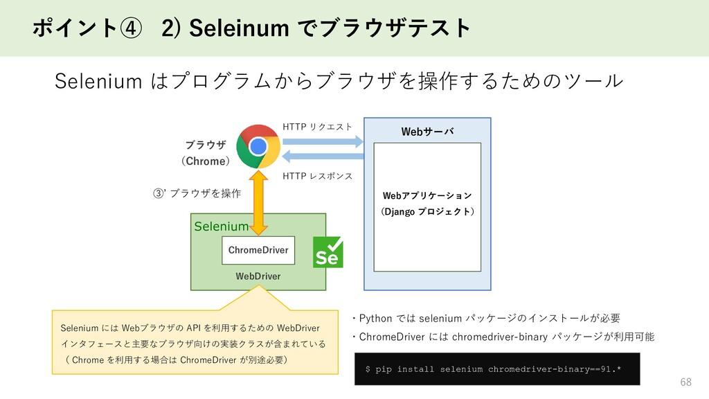 ポイント④ 2) Seleinum でブラウザテスト Selenium はプログラムからブラウ...