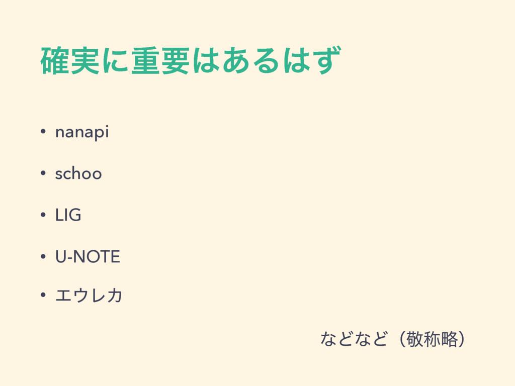 ࣮֬ʹॏཁ͋Δͣ • nanapi • schoo • LIG • U-NOTE • Τ...